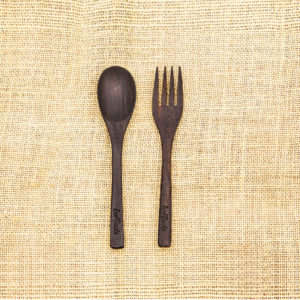 Tropical Wooden Spoon Fork